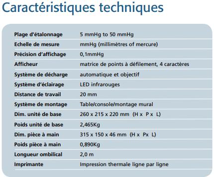Caractéristique Tonomètre Keeler pulsair