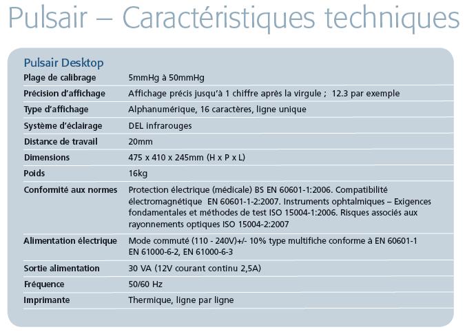 Caractéristiques tonomètre Pulsair Desktop